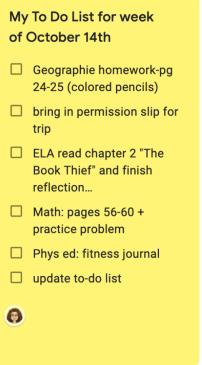 a sample to-do list